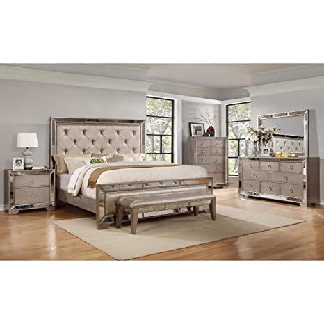 Best Master Furniture B1980 Ava Mirrored 6 Pcs Bedroom Set with Bench,  Queen, Silver/Bronze