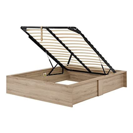 rustic platform beds with storage king size south shore fusion ottoman queen storage bed 60quot rustic oak amazoncom 60