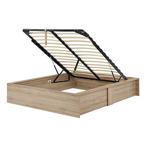 Incredible South Shore Fusion Ottoman Queen Storage Bed 60 Rustic Oak Customarchery Wood Chair Design Ideas Customarcherynet
