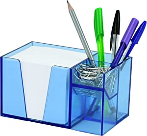Acrimet Desktop Organizer Pencil Paper Clip Caddy Holder (Plastic) (with Paper) (Clear Blue Color)