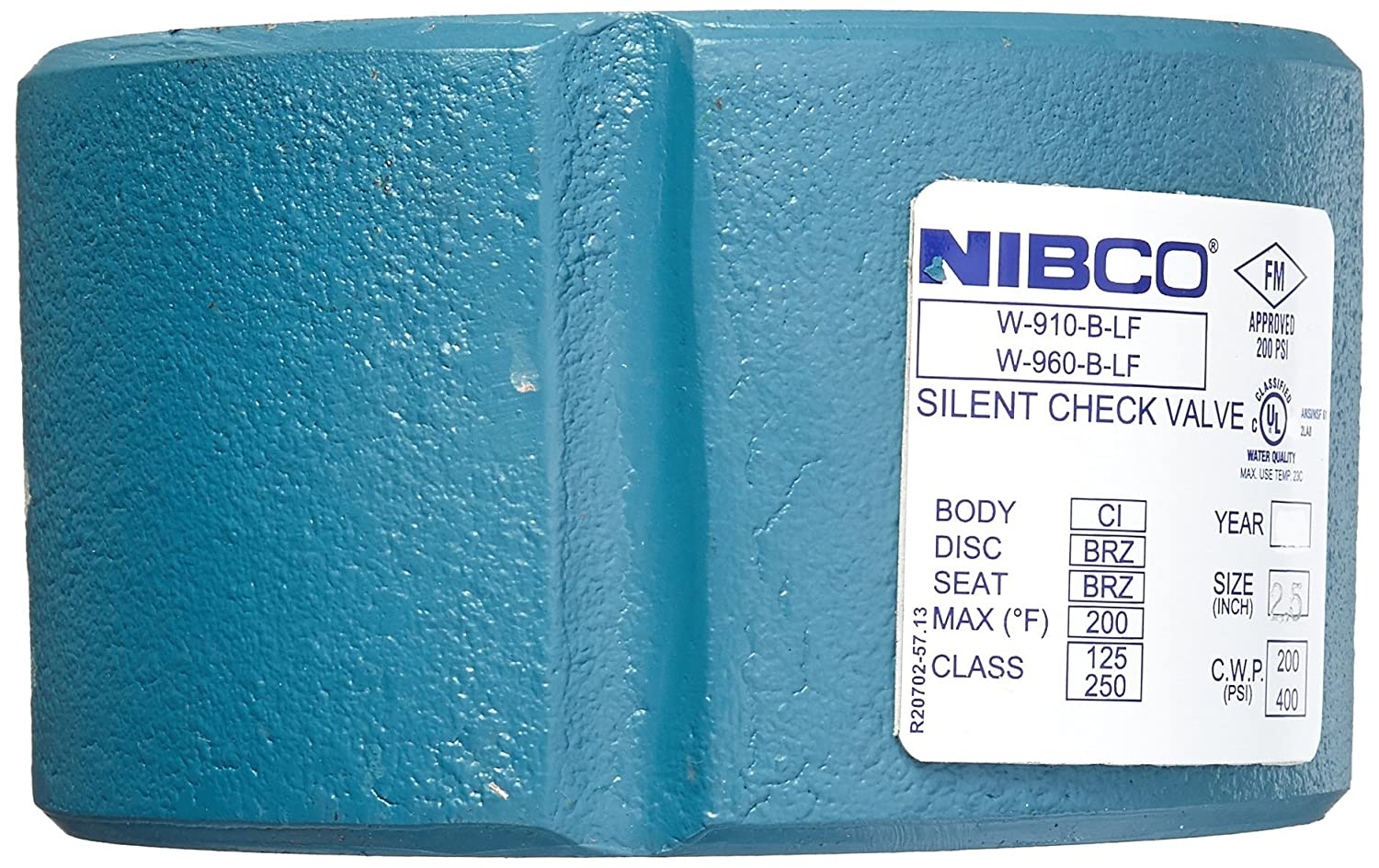 Bronze Seat and Disc NIBCO  W910B-LF//W960B-LF Silent Wafer Check Valve   Lead-Free 2-1//2 Class 125 Iron Body