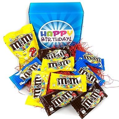 Happy Birthday Ultimate M&M Gift Box - M&M Peanuts, Chocolate and Crispy - By Moreton