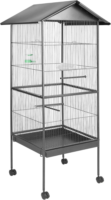 TecTake 800449 Jaula para Pájaros, Pajarera XXL con Ruedas, para Aves Canarios Periquitos - Varios Modelos (con Techo | No. 400749)
