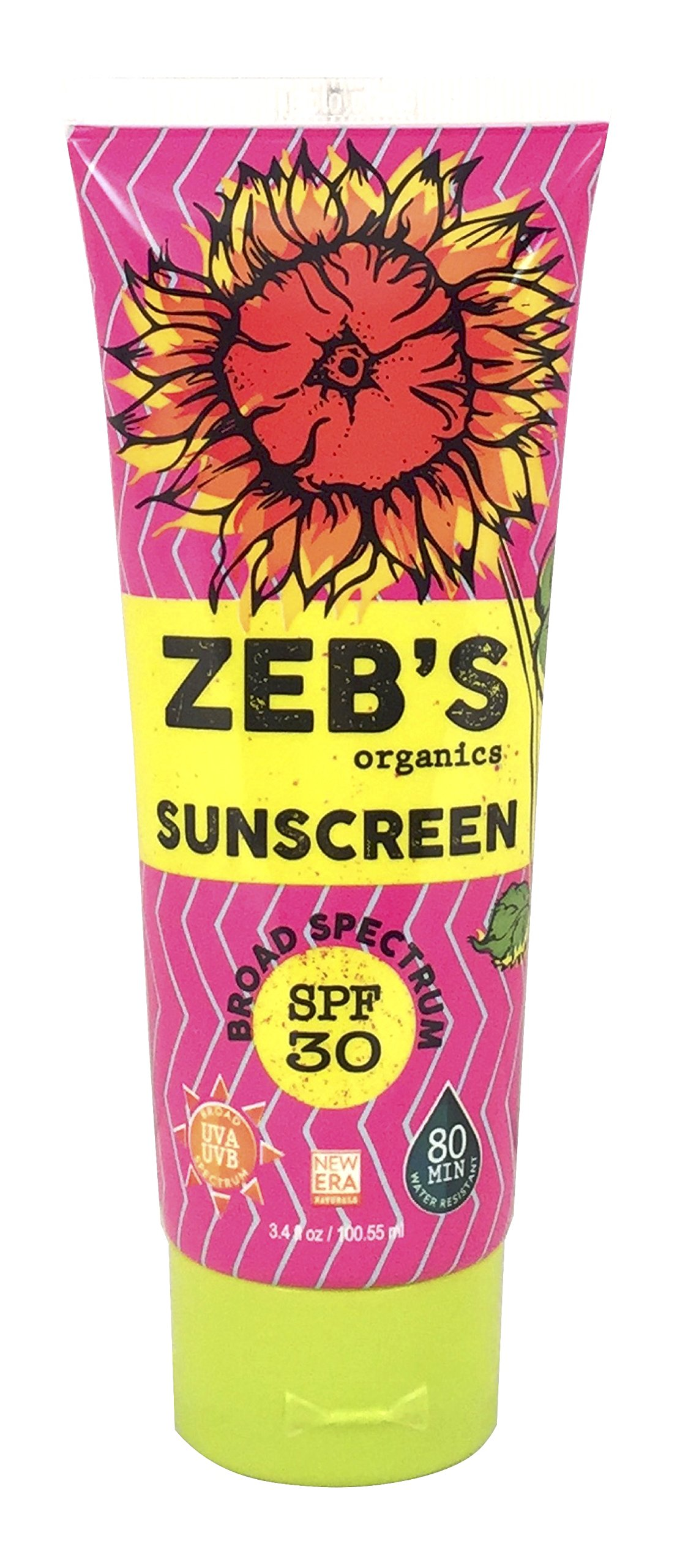 Zebs Organics Sunscreen, Natural & Organic, SPF 30, 3.4oz