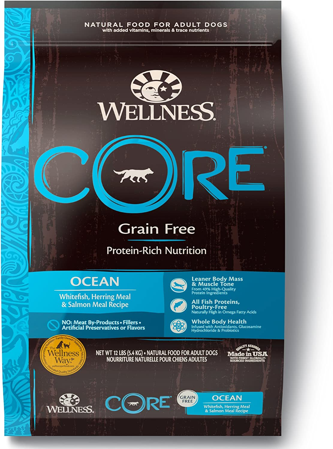 Wellness CORE Natural Grain Free Dry Dog Food, Ocean Whitefish, Herring Salmon, 12-Pound Bag