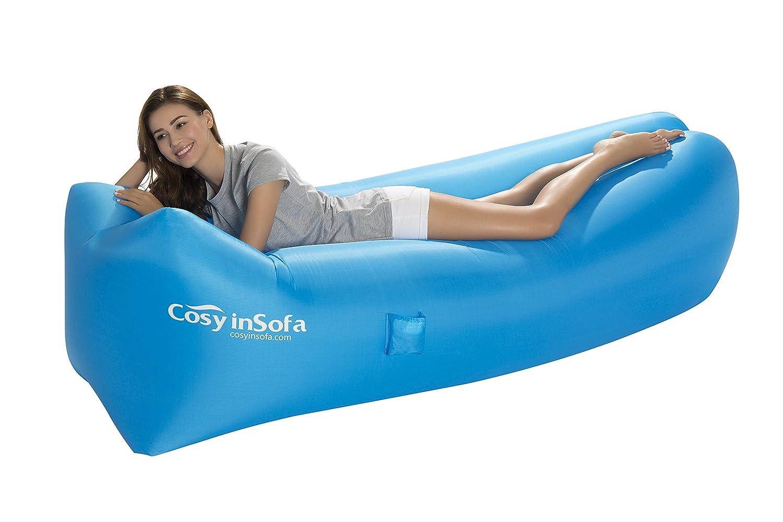 Amazon.com : CosyInSofa Fast Inflatable Air Bag Sofa Camping Bed Hangout  Bean Bag Sleeping Lounger, Lightweight Hangout Air Lounger Sofa With Pillow  Holiday ...