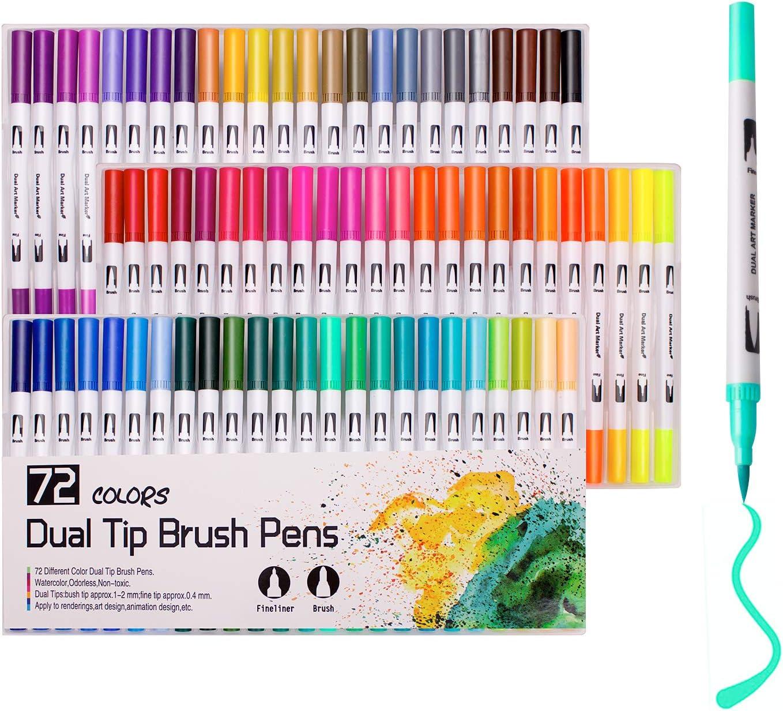 Rotuladores para colorear, 72 colores, punta de pincel de acuarela ...