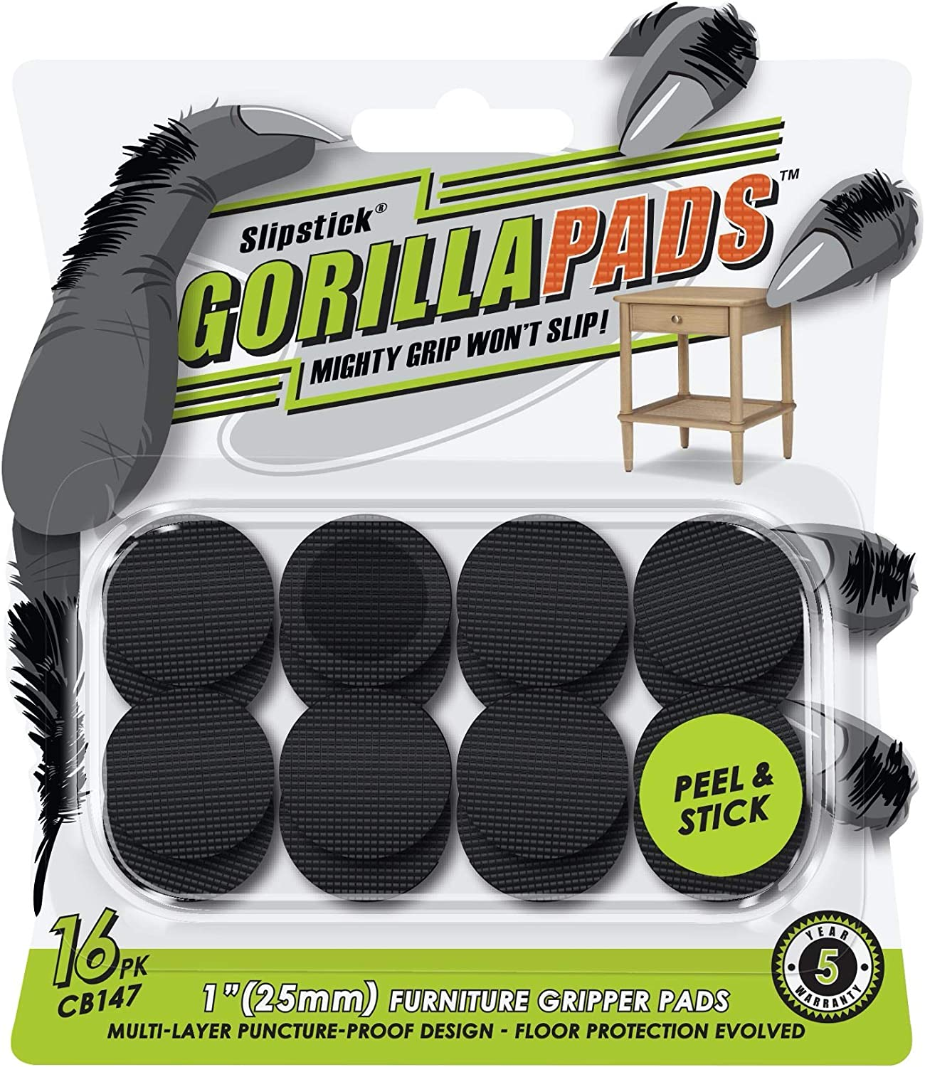 GorillaPads CB147 Non Slip Furniture Pads/Gripper Feet (Set of 16) Self Adhesive Rubber Floor Protectors, 1 inch Round, Black