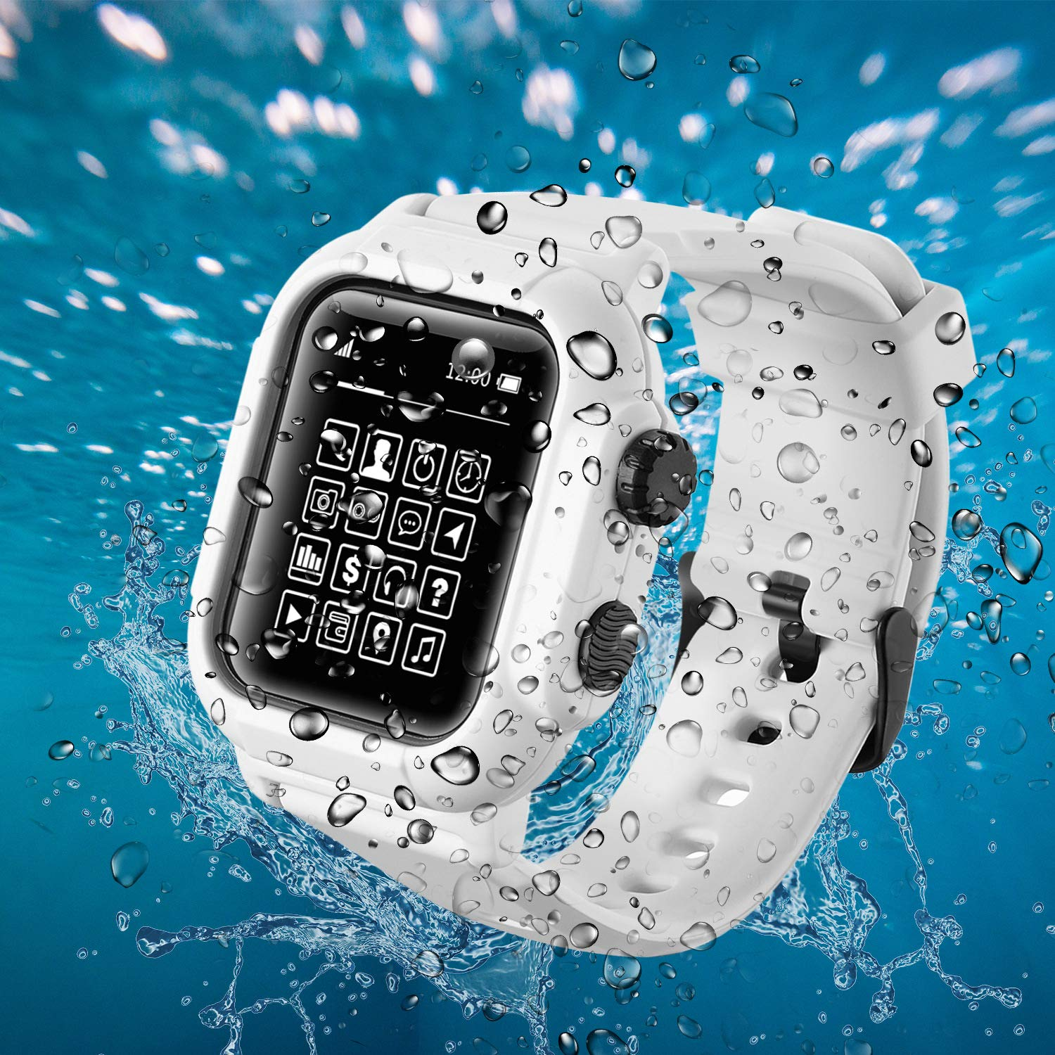 Compatible Apple Watch iwatch 44mm Waterproof Case, Tomcrazy IP68 Full Sealed Shockproof Cover with Soft Silicone Sport iwatch Band Watchstrap Protective Case for Apple Watch Series 4 44mm (White) by Tomcrazy