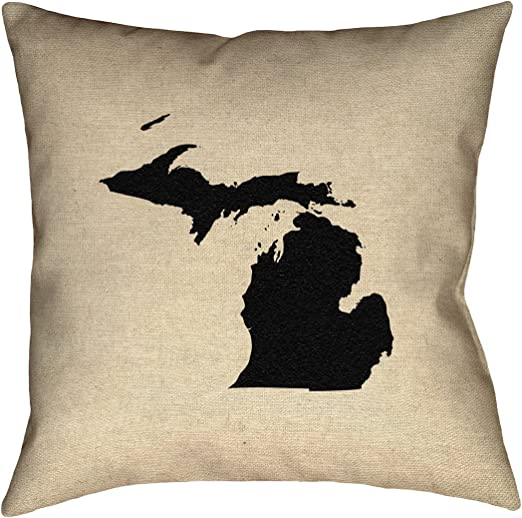 ArtVerse Katelyn Smith 16 x 16 Spun Polyester Hawaii Outline Pillow