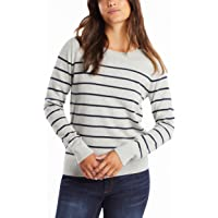 NAUTICA Women's Year-Round Long Sleeve 100% Cotton Striped Crewneck Sweater, Red, X-Small
