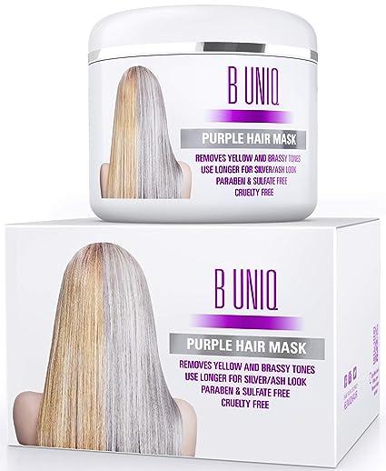 Silber Haarmaske für silbernes & blondiertes Haar – Purple Hair Mask B Uniq no yellow – intensive Haarpflege für trockenes, s