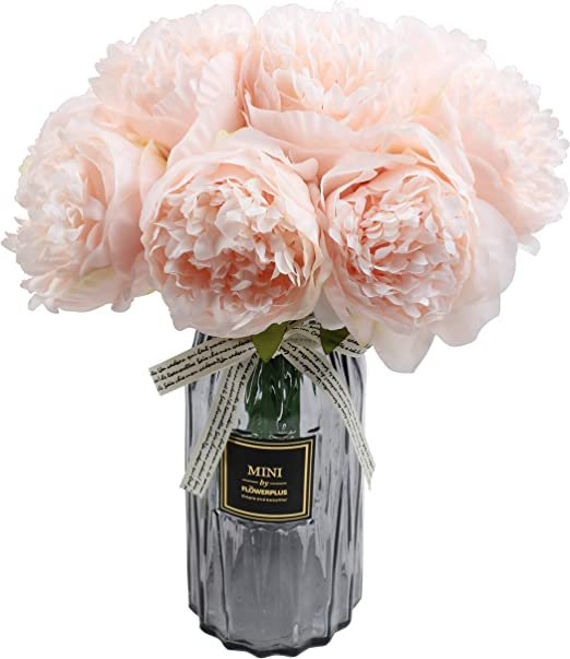 famibay Artificial Peony Bouquets Flower Head Vantage Fake Peony Silk Plastic Plants with Stem for Home Decoration Wedding Party Garden Bar Festival