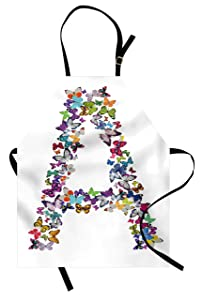 Ambesonne Letter A Apron, The First Letter of The Alphabet in Butterfly Form Nature ABC Multiple Colors, Unisex Kitchen Bib Apron with Adjustable Neck for Cooking Baking Gardening, Multicolor