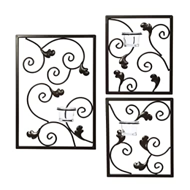 Hosley Set of 3 Wall Sconce Iron Tealight Set 1 Large 15 Inches High and 2 Small 8 Inches High Modern Wall Art Plaque for Your Home Spa LED Aromatherapy or as a Gift O4