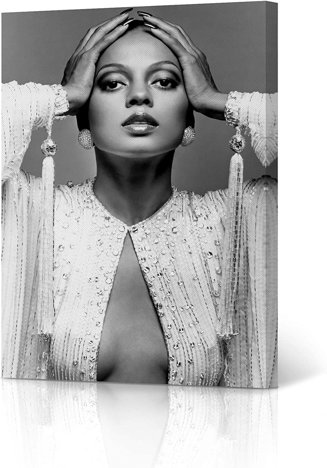 Amazon Com Hb Art Design Diana Ross In Fancy White Dress Black And White Canvas Wall Art Print Beautiful African American Art Icon Artwork Living Room Bedroom Decor Home Decor Made In Usa