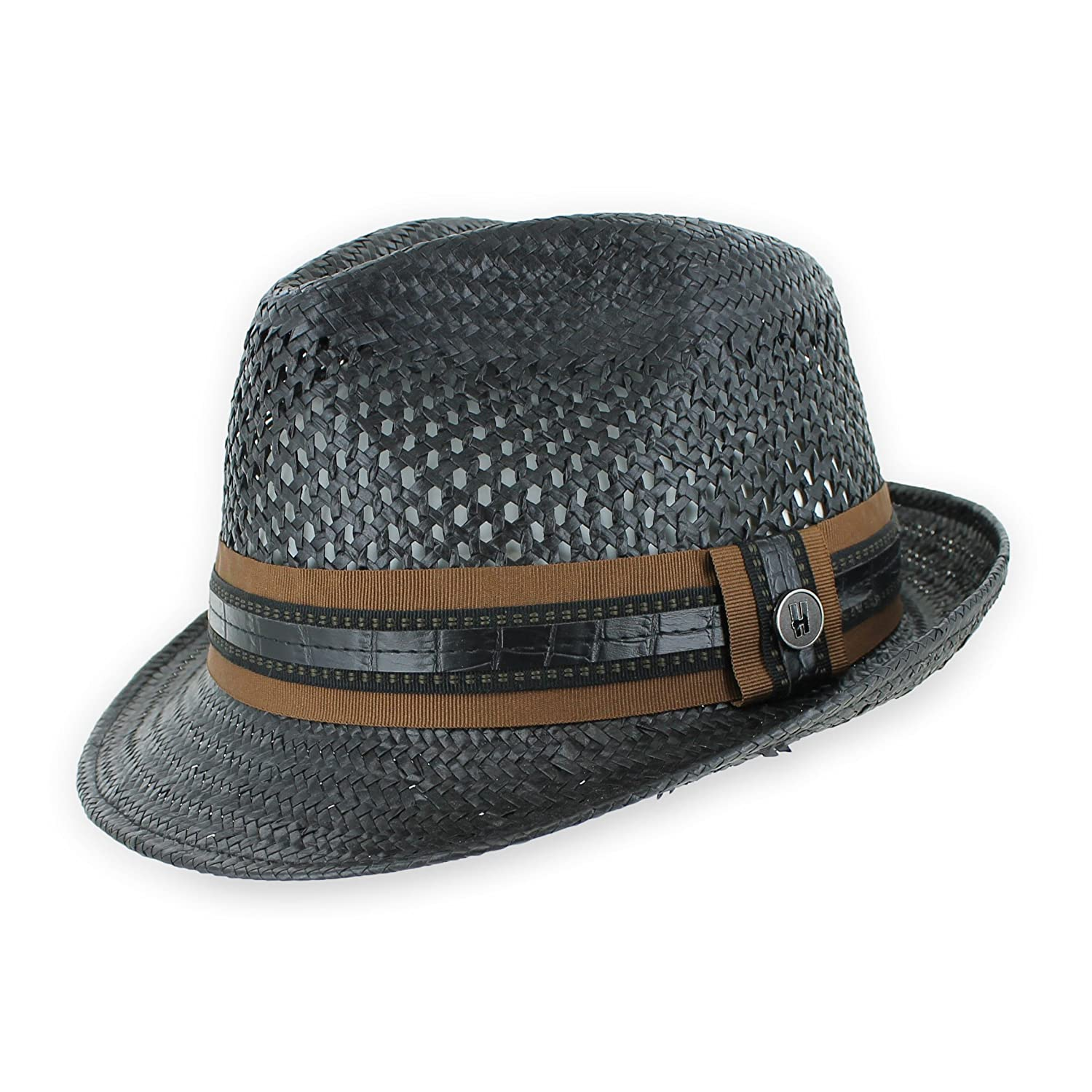7d5bd9d0 Men Women Summer Woven Straw Trilby Fedora Hat in Ivory Tan Black at Amazon  Men's Clothing store:
