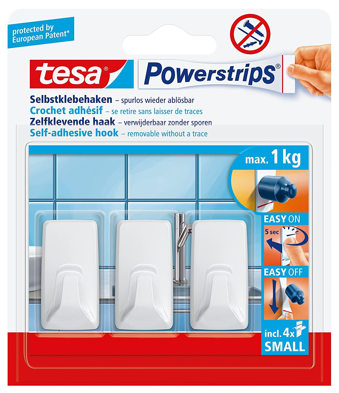 Tesa Powerstrips Haken wei/ß Small eckig