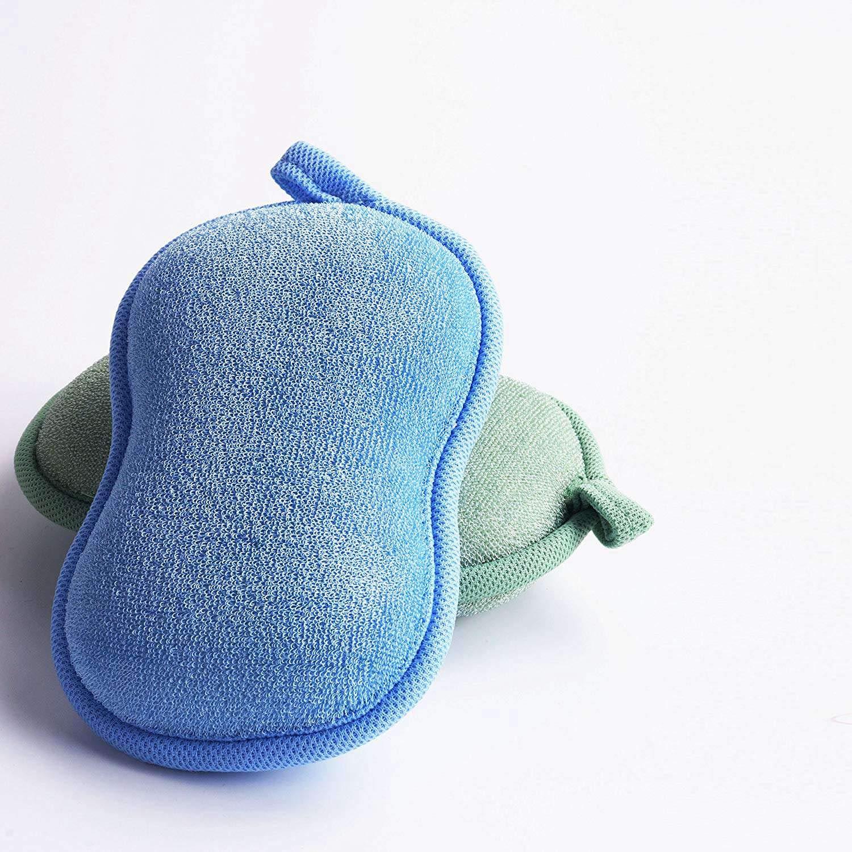 Biodegradable Hipoalerg/énico-Verde Azul WOVELOT Babamate Natural Bamboo Baby Bath Sponge-2 Pack-Ultra Esponja Suave Y Absorbente Para La Piel Sensible Del Beb/é
