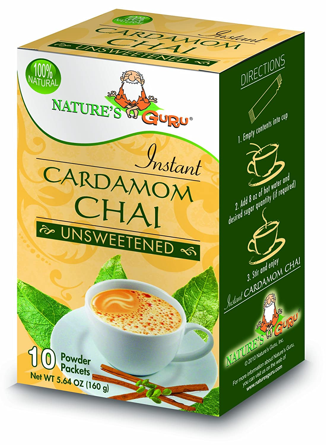 Nature's Guru Instant Cardamom Chai Tea Drink Mix Unsweetened 10 Count Single Serve