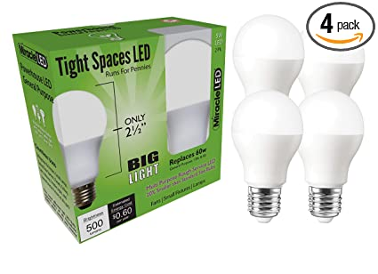 Miracle LED 604714 Low Profile General Purpose LED Bulb with Medium Base (Pack of 4), Cool White - - Amazon.com