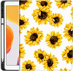 Sahoprt ipad 10.2 2019 2020 Case with Pencil Holder, ipad 7th / 8th Generation Case, Premium Leather Anti-Drop Protective Cover for Apple Tablet, Adjustable Stand with Auto Wake/Sleep (Sunflower)