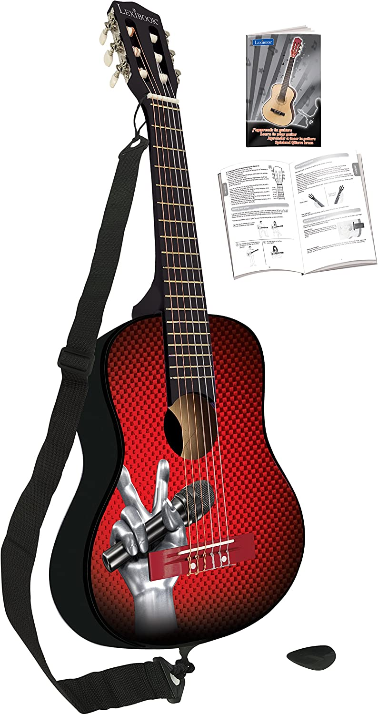 LEXIBOOK Voz-Guitarra Acústica de Madera, 6 Cuerdas, 78cm, Guía de Aprendizaje incluida, Negra/Roja K2000TV, Color