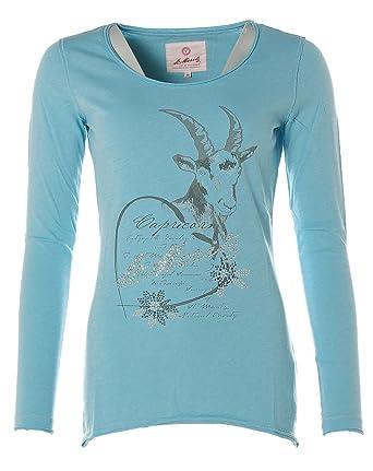 0b17856b90d73a St. Moritz Damen Langarm Shirt Rundhals Glitzer Strass -Geißbock- Lake Blue  36