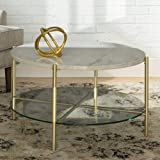 WE Furniture Modern Round Coffee Accent Table Living Room, 32 Inch, White Marbl, Gold