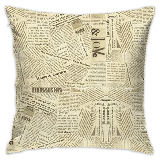 Einst Square Funda de cojín Des Retro Newspaper Throw Pillow ...