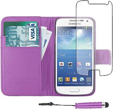 ebestStar - Funda Compatible con Samsung S4 Mini Galaxy GT-i9190, i9192, i9195 Carcasa Cartera, Billetera Ranuras Tarjeta, Función Soporte +Mini Lápiz, Violeta [Aparato:124.6 x61.3 x8.9mm 4.3