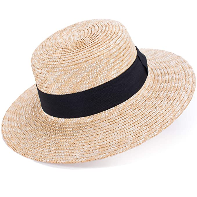3234fc4572057 Lawliet Womens Natural Straw Boater Hat Beach Flat Dress Fashion ...