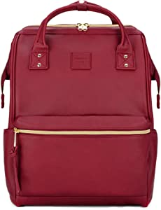 Kah&Kee Leather Backpack Diaper Bag with Laptop Compartment Travel School for Women Man (Wine, Large)