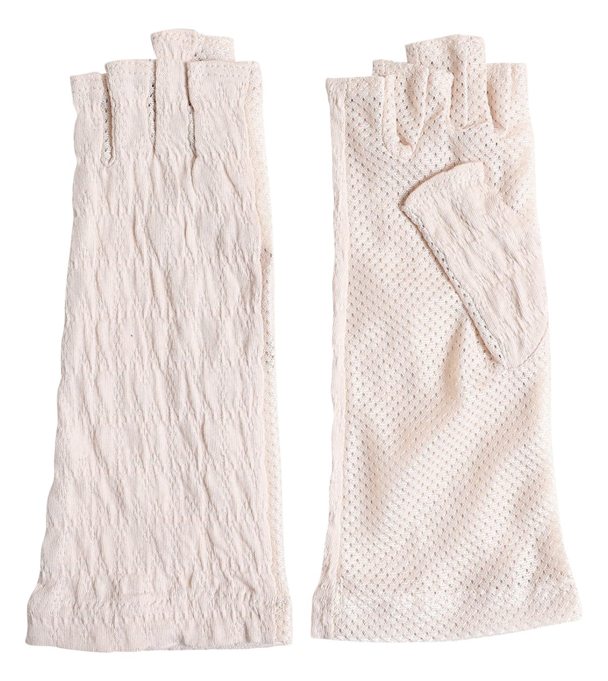 Women Sunblock UV Protection Mesh Outdoor Driving Antimicrobial and deodorant-finished Crinkle chiffon fabric Youryu Half Finger Fingerless Gloves Summer Japan Import by GlovesDEPO Beige