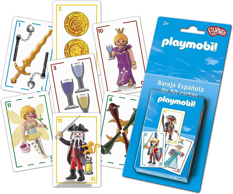 Fournier- PLAYMOBIL –BARAJA ESPAÑOLA Infantil, Color Azul (1044654 ...