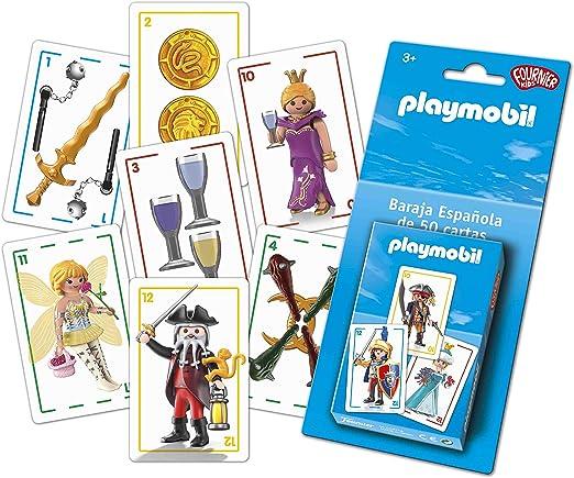 Fournier- PLAYMOBIL –BARAJA ESPAÑOLA Infantil, Color Azul (1044654): Amazon.es: Juguetes y juegos