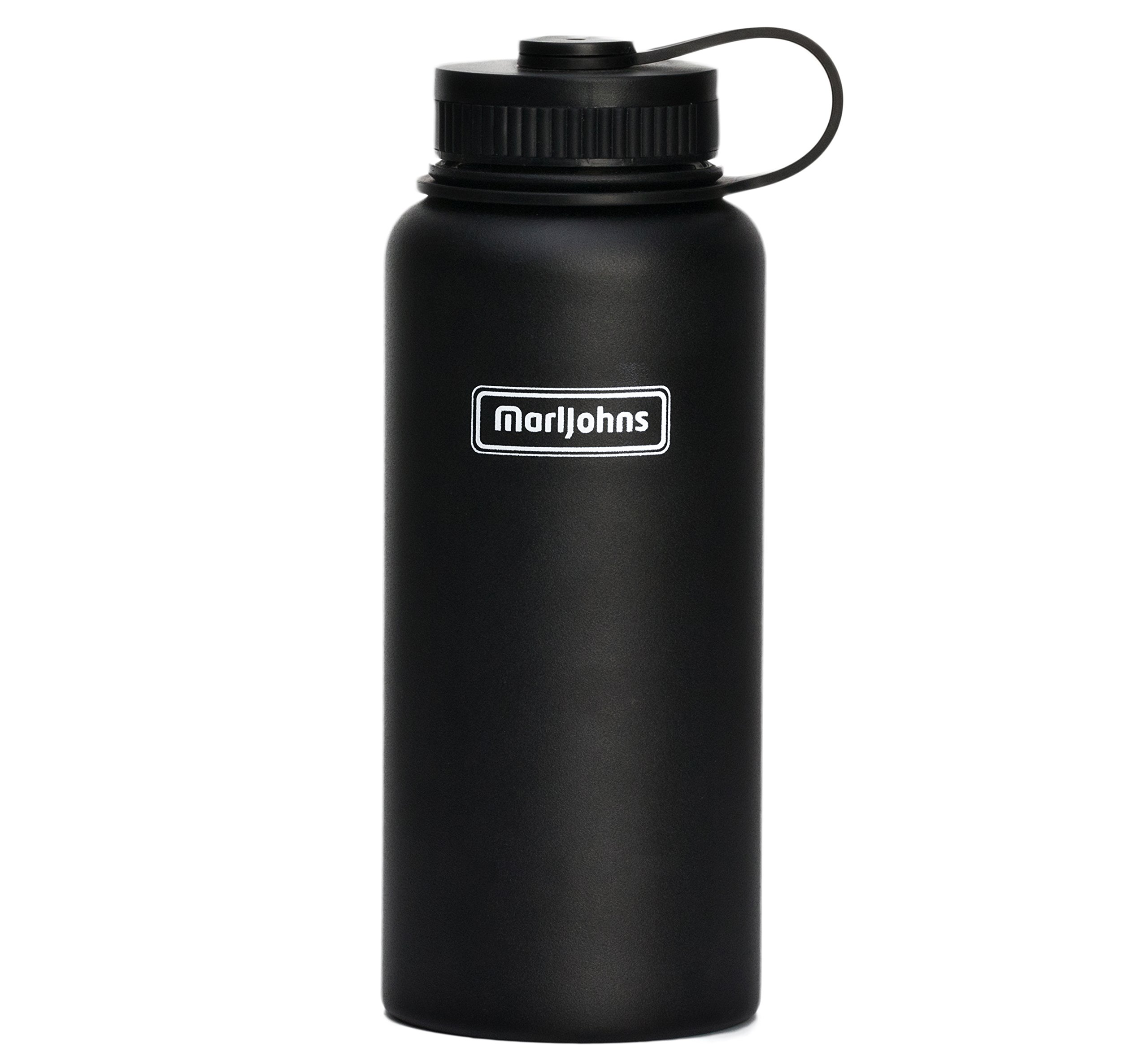MarlJohns Double Walled Vacuum Insulated Stainless Steel Thermos Flask - Cold 24 Hrs, Hot 12 Hrs.100% Leak & Sweat Proof,32 Oz & 40 Oz,BPA Free+Environmentally Friendly Packing (Black, 32-Ounce)