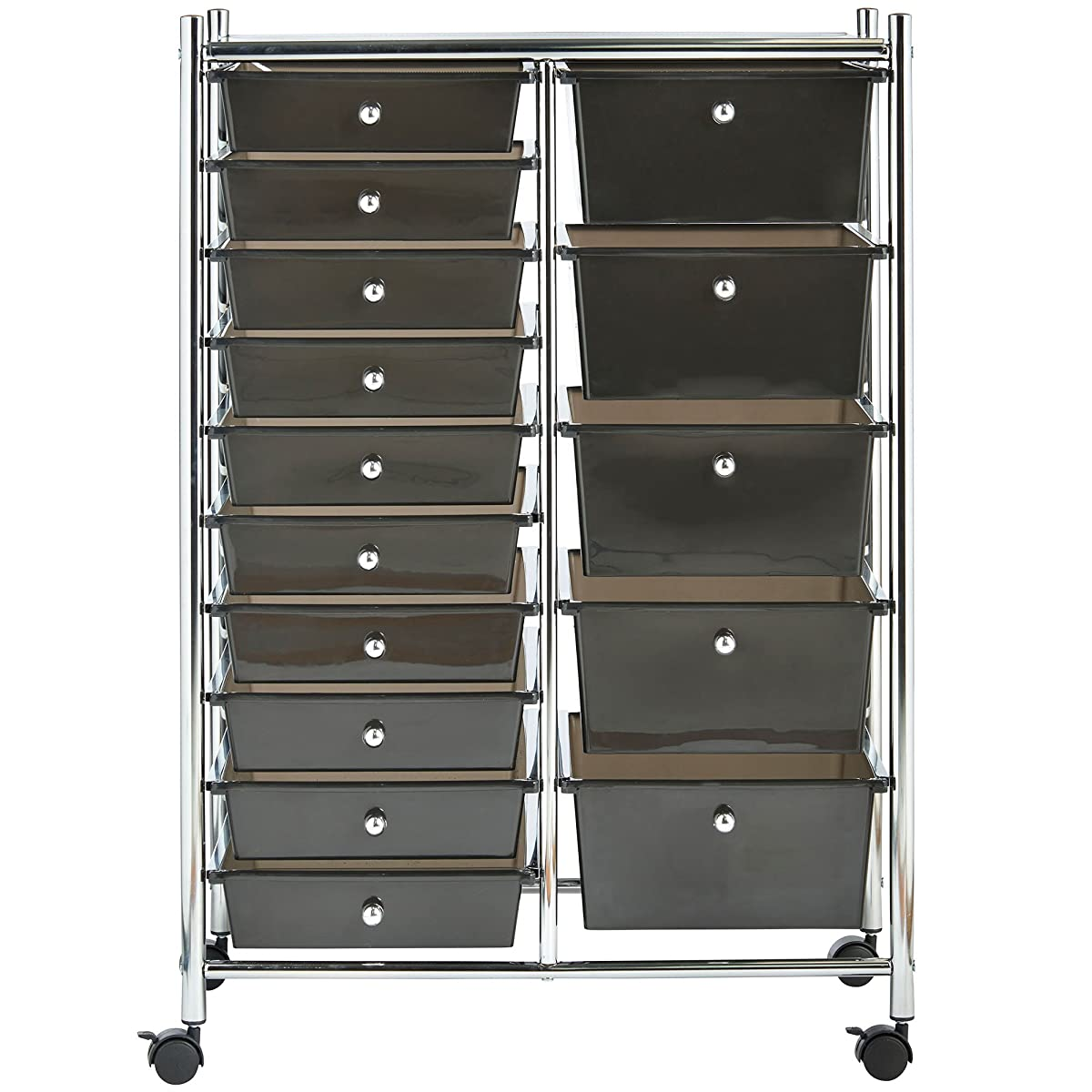 VonHaus Black 15 Drawer Organizer Cart with Rolling Wheels Multi-Purpose Utility Trolley for Home, Office, Art, Crafts and Beauty Storage