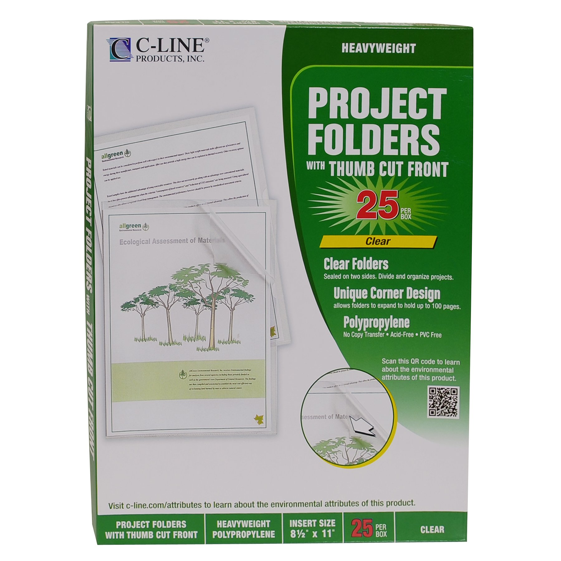 C-Line Biodegradable Poly Project Folders, Reduced Glare, Clear, 8.5 x 11 Inches, 25 per Box (62627) by C-Line