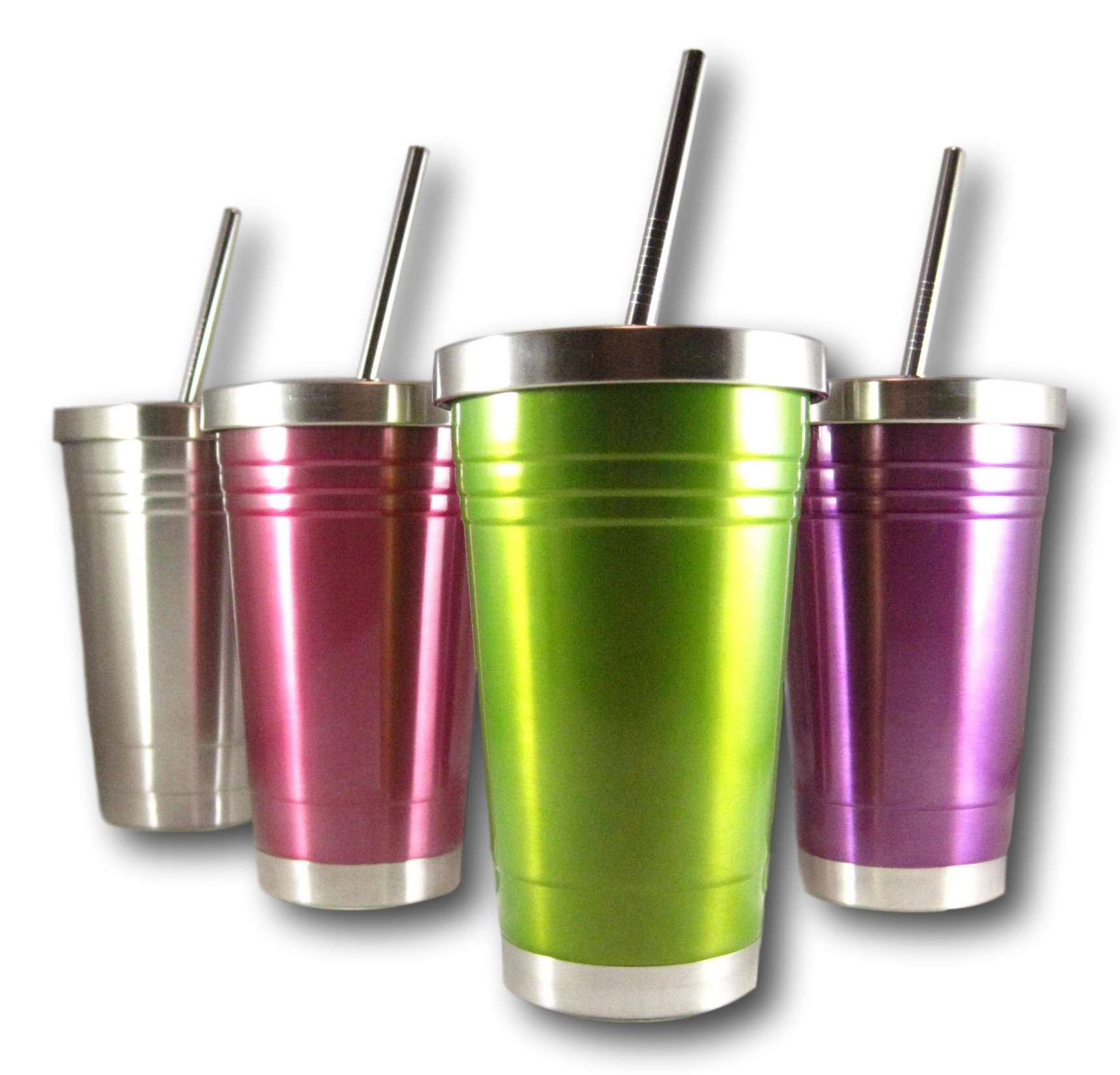 Colorful 16 Oz Stainless Steel Double Walled Insulated Tumbler and Lid and Straw by plumwood and vine (Green)