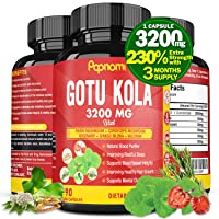 Organic Gotu Kola Extract Capsules 3200MG, Highest Potency Extra Strength Complex|Brain Booster Support, Supplement for Clarity Energy Memory Focus|Anxiety Stress Relief Mood Enhancer, 3 Months Supply