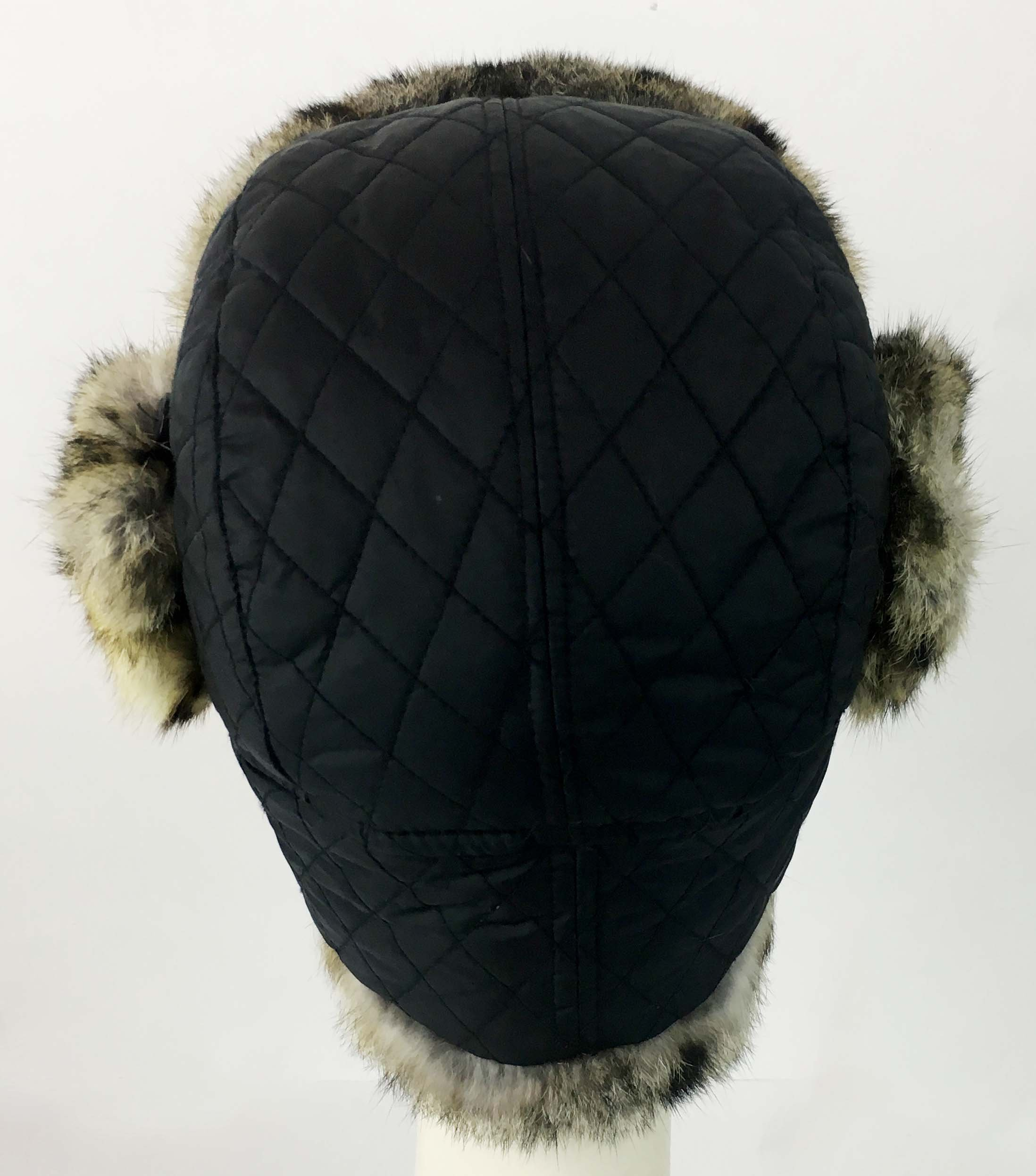 surell Trapper Aviator Hat with Rabbit Fur Trim - Warm Bomber Trooper Hat - Perfect Winter Luxury Gift (Leopard) by surell (Image #4)