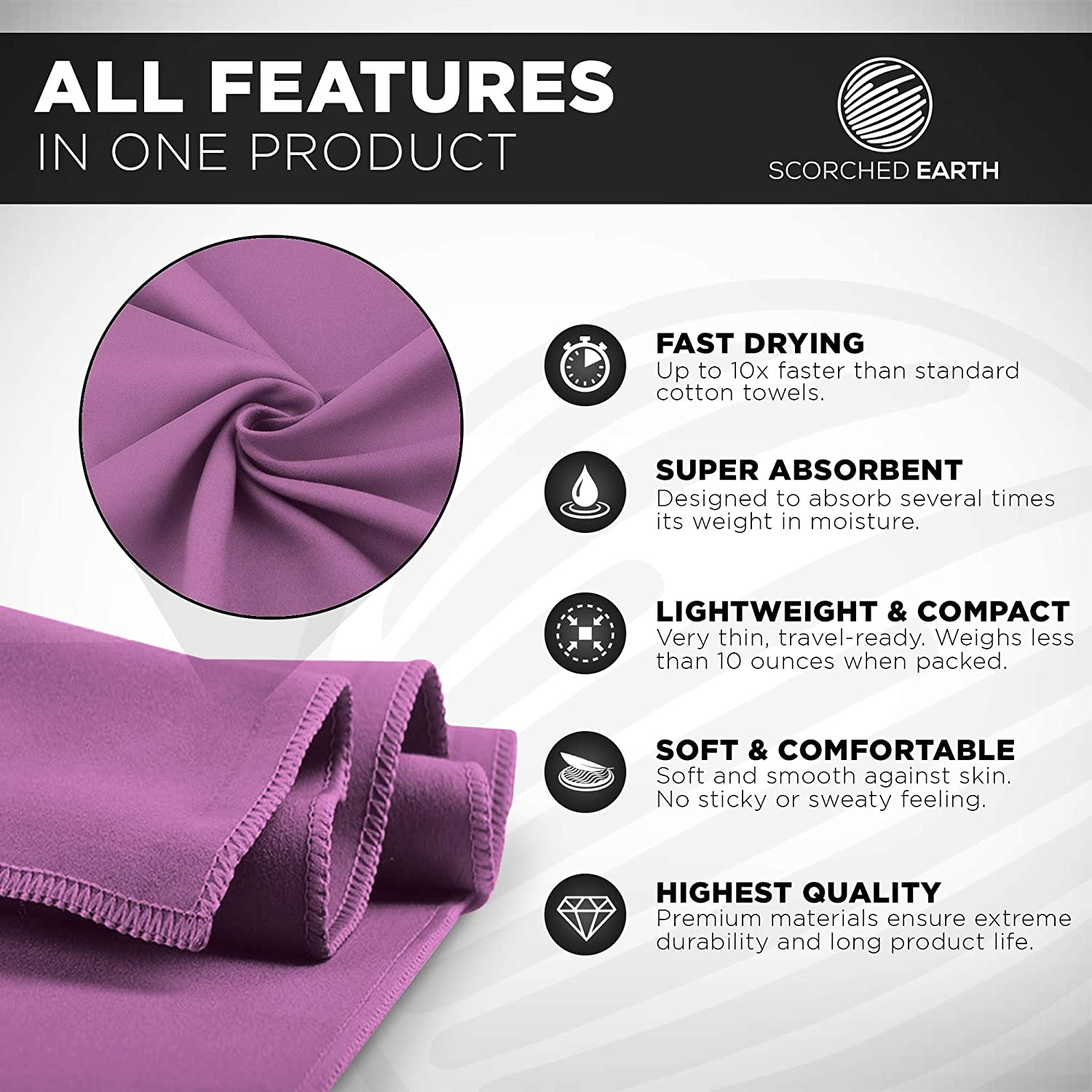 ScorchedEarth Microfiber Travel /& Sports Towel Set Hiking Yoga Swimming Includes 2 Sizes Carrying Bag /& Clip Lightweight Super Absorbent Backpacking Compact Beach Quick Dry for Camping