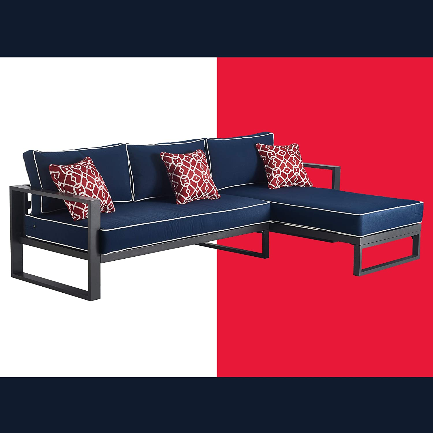 Tommy Hilfiger ODSO10011A Monterey Modern Patio Outdoor Furniture Collection, Weather Resistant, Metal Frame, Sectional Sofa, Navy Blue & Dark Gray