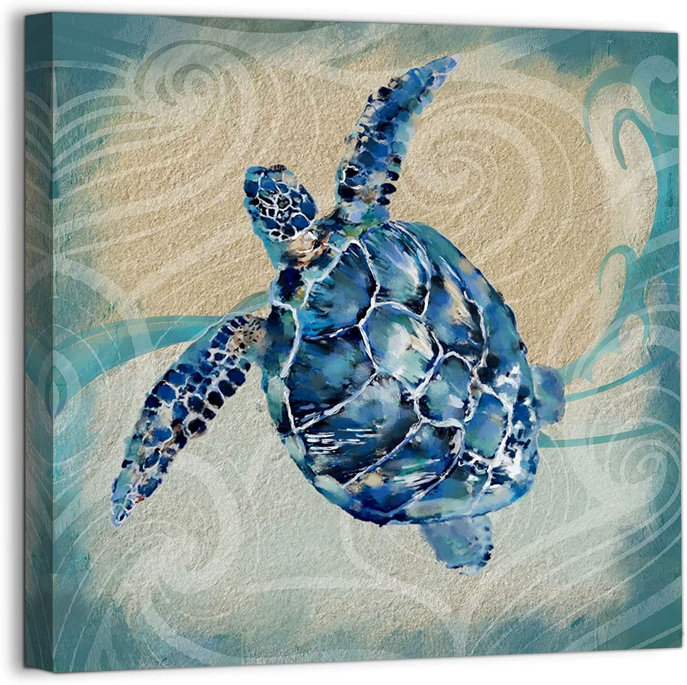 Bathroom Wall Art Canvas Navy Blue Sea Turtle Theme Wall Decor Ocean Painting Pictures for Kids Room Decor Modern Framed Artwork for Bedroom Office Kitchen Wall Decor Home Wall Decoration Size 14x14