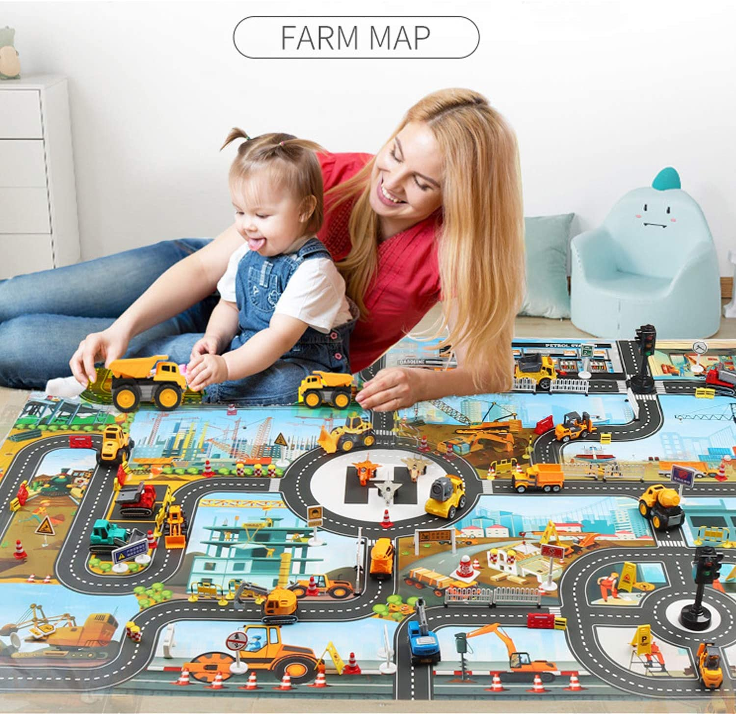 JTMM Kids Carpet Playmat Urban Construction,Plastic PVC Playmat Size39.3X51.1in//100x130CM Kids Rug Game Area Rug Carpet /& Educational Learning Gift for Kids and Children Bedrooms and Playroom