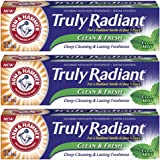 Arm & Hammer Truly Radiant Clean & Fresh Fluoride Toothpaste, Clean Mint 4.3 Ounce (Pack of 3)