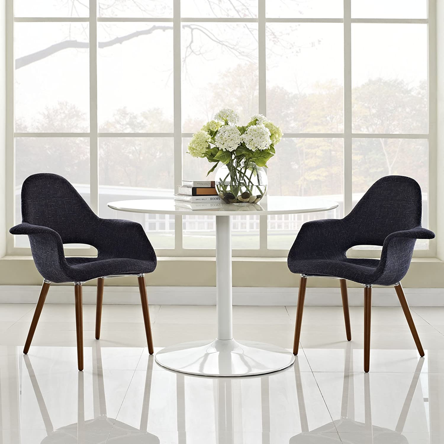 Modway Aegis Mid-Century Modern Upholstered Fabric Two Kitchen and Dining Room Chairs with Wood Legs in Black
