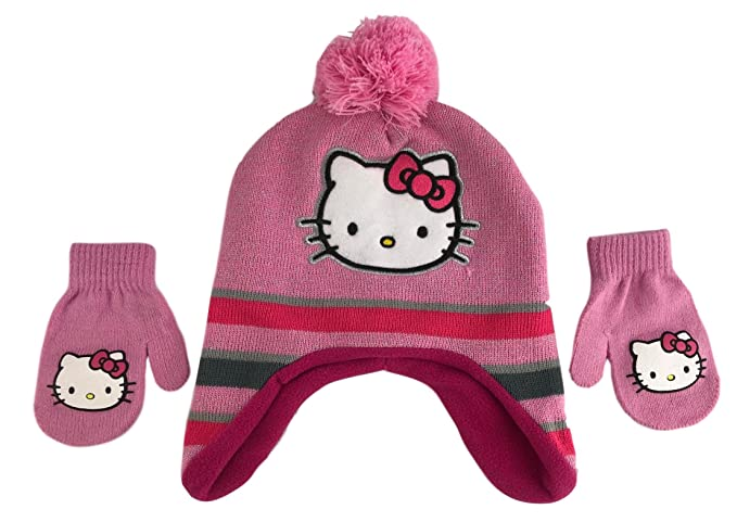 a8aa245b778 Image Unavailable. Image not available for. Color  Sanri Little Toddler  Girls Hello Kitty Hat   Gloves Set Pink