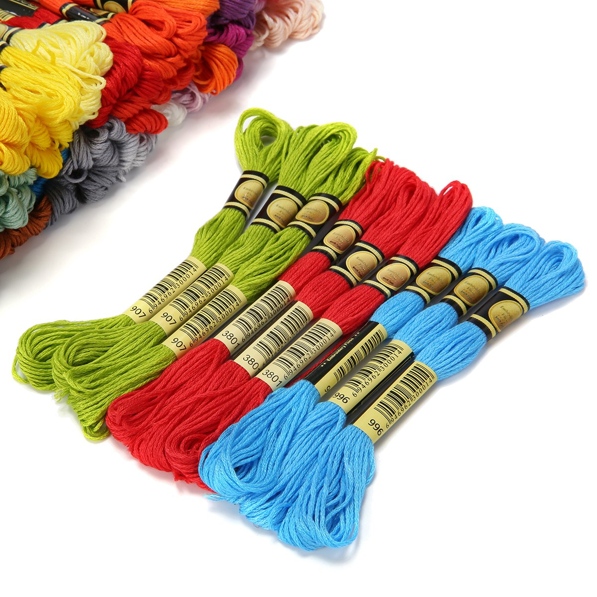 KINGSO Embroidery Floss 105 Skeins Rainbow Color Cross Stitch Thread Bracelets Floss Art Craft with Embroidery Needle Threading Tools